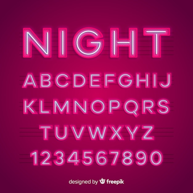 Neon-alphabet Kostenlosen Vektoren