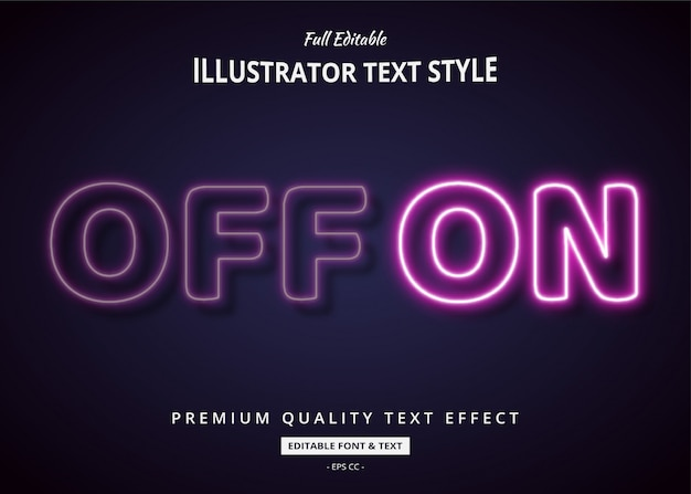 Neon aus auf 3d-textstil-effekt Premium Vektoren