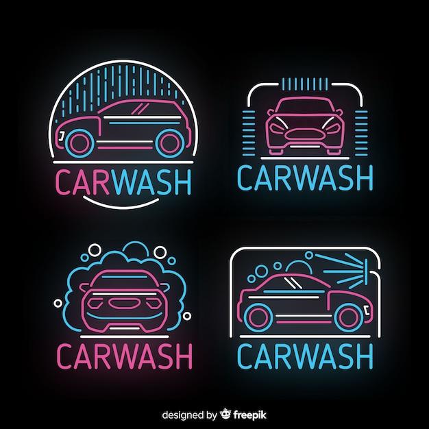 Neon autowäsche zeichen pack Kostenlosen Vektoren
