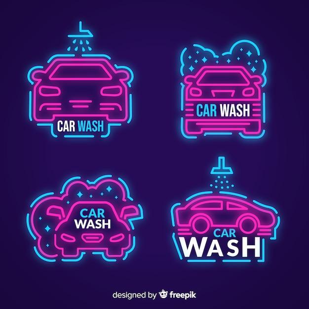 Neon-autowaschschilder-pack Kostenlosen Vektoren