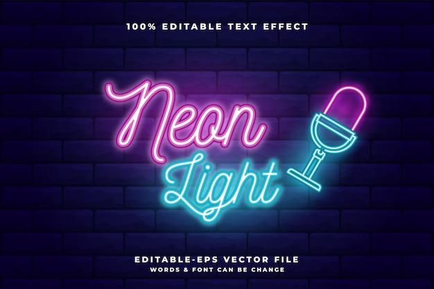 Neon bearbeitbarer texteffekt. neonlicht Premium Vektoren