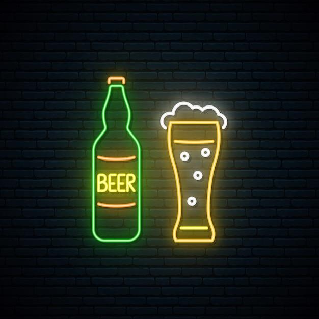 Neon bier zeichen. Premium Vektoren