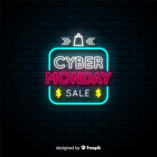 Neon-cyber-montag-banner Kostenlosen Vektoren
