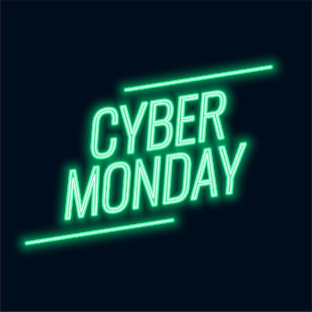 Neon cyber montag verkaufstext Kostenlosen Vektoren