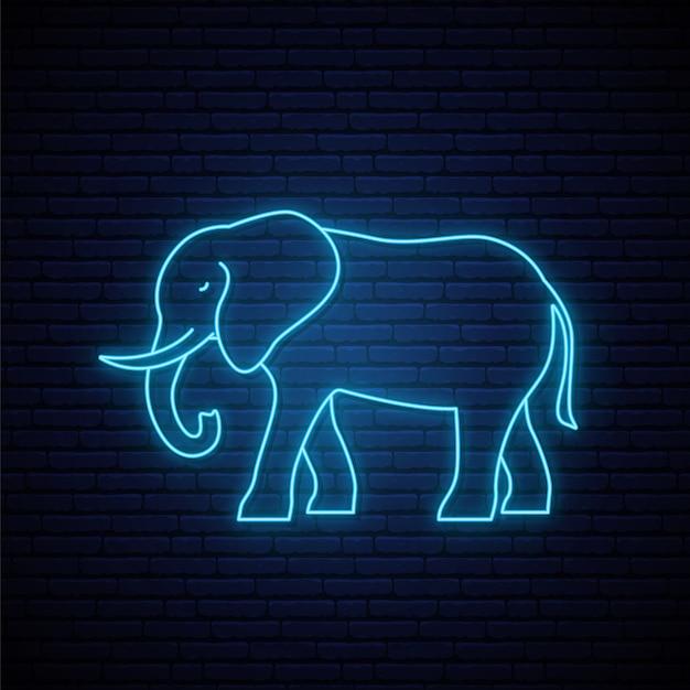 Neon elefantenzeichen. Premium Vektoren