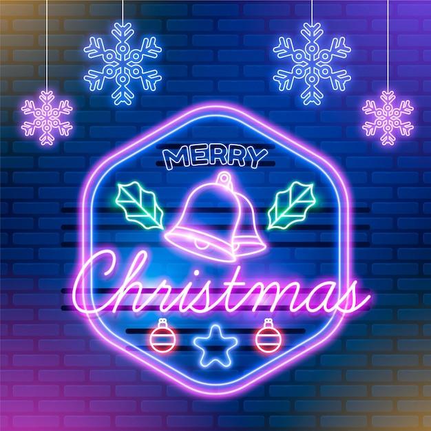 Neon frohe weihnachten mit schneeflocken Premium Vektoren