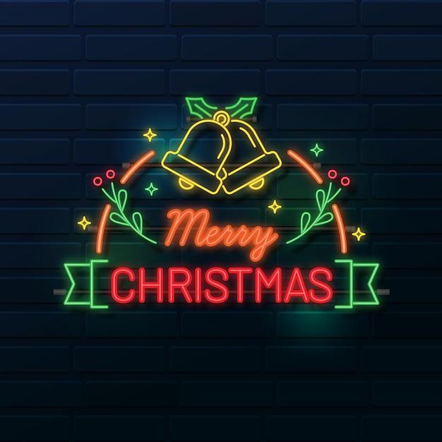 Neon frohe weihnachten Kostenlosen Vektoren