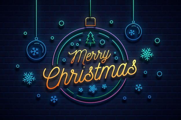 Neon frohe weihnachten Premium Vektoren