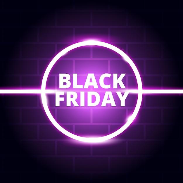 Neon-glühen-schwarzer freitag-hintergrund Premium Vektoren