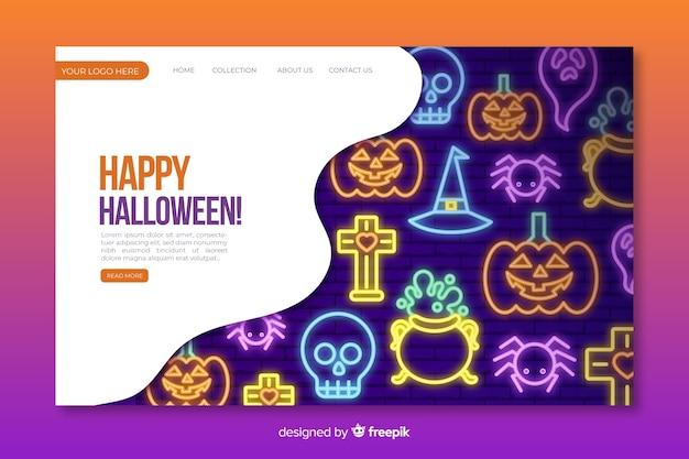 Neon halloween landing page vorlage Kostenlosen Vektoren