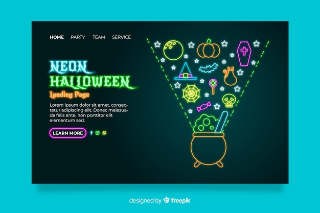 Neon halloween landing page Kostenlosen Vektoren