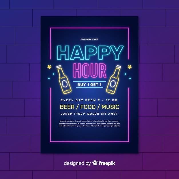 Neon happy hour lichter poster mit flaschen bier Kostenlosen Vektoren
