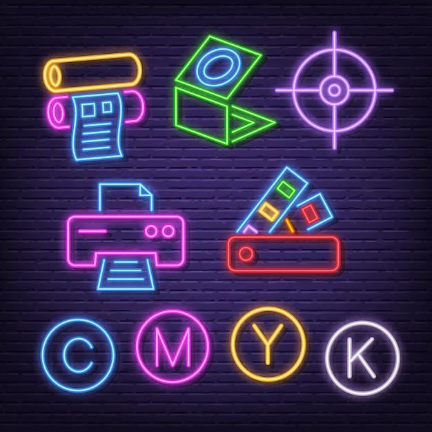 Neon-icons drucken Premium Vektoren