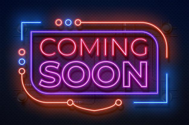 Neon kommt bald unterschreiben. film kündigen abzeichen, neues shop promotion leuchtendes element, neonlicht banner. kommt bald unterschreiben Premium Vektoren