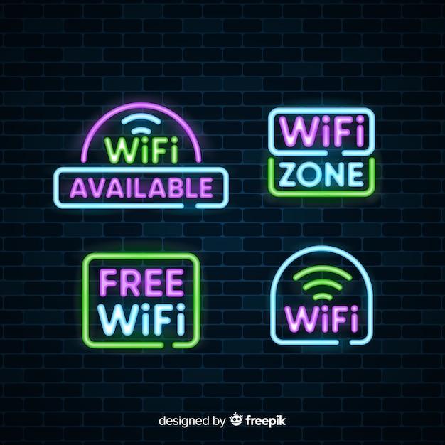 Neon kostenlose wifi zeichen sammlung Kostenlosen Vektoren