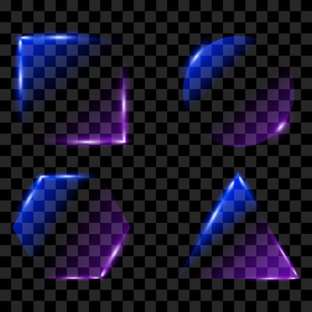 Neon leuchtende bilder eingestellt Premium Vektoren