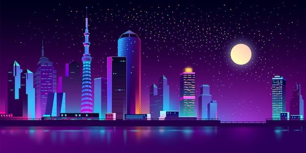 Neon-megapolis am fluss in der nacht Kostenlosen Vektoren
