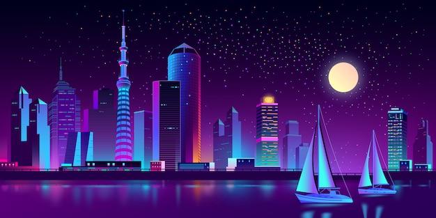 Neon-megapolis am fluss mit yachten Kostenlosen Vektoren