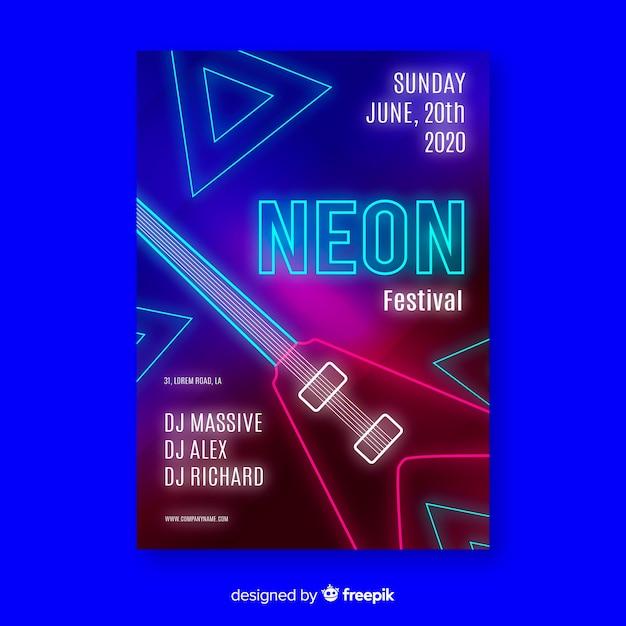Neon musik festival plakat vorlage Kostenlosen Vektoren