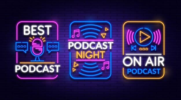 Neon podcast logo sammlung Kostenlosen Vektoren