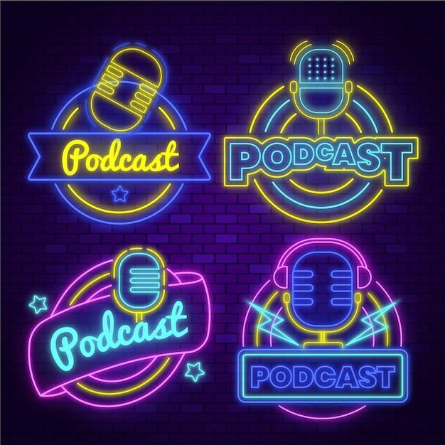 Neon podcast logo sammlung Premium Vektoren