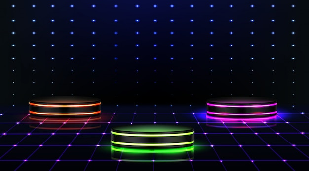 Neon-podium. leere bühne im nachtclub, tanzfläche Kostenlosen Vektoren