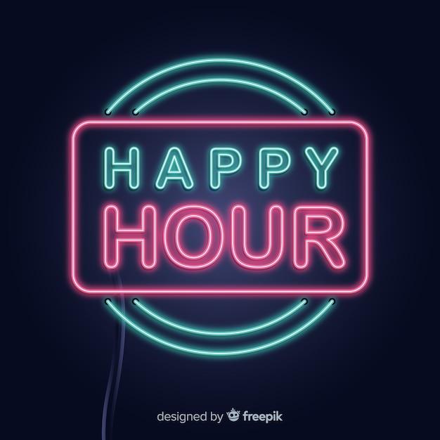 Neon rechteck happy hour zeichen Kostenlosen Vektoren
