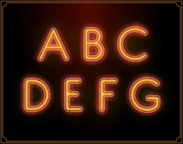 Neon schriftart alphabet. leuchtet hinein. Premium Vektoren