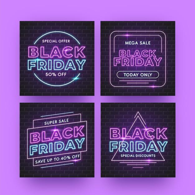 Neon schwarzer freitag instagram beiträge Premium Vektoren