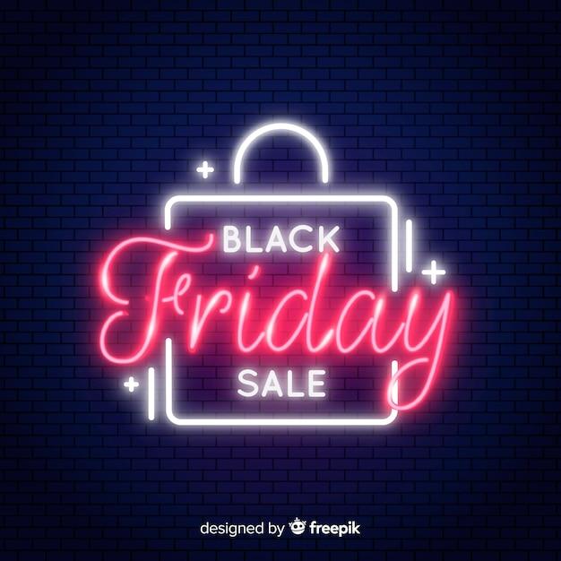 Neon schwarzer freitag verkauf banner Kostenlosen Vektoren