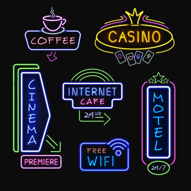 Neon signboards realistische nachtkollektion Kostenlosen Vektoren
