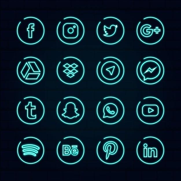 Neon social media logo vorlage Premium Vektoren