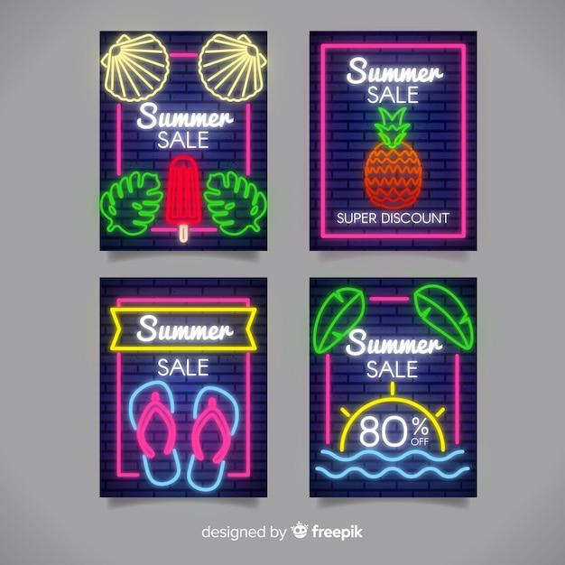 Neon sommerschlussverkauf banner pack Kostenlosen Vektoren