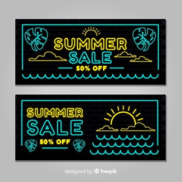 Neon sommerschlussverkauf banner Kostenlosen Vektoren