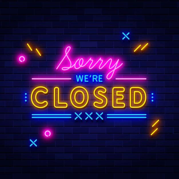 Neon sorry, wir sind geschlossenes schild Kostenlosen Vektoren