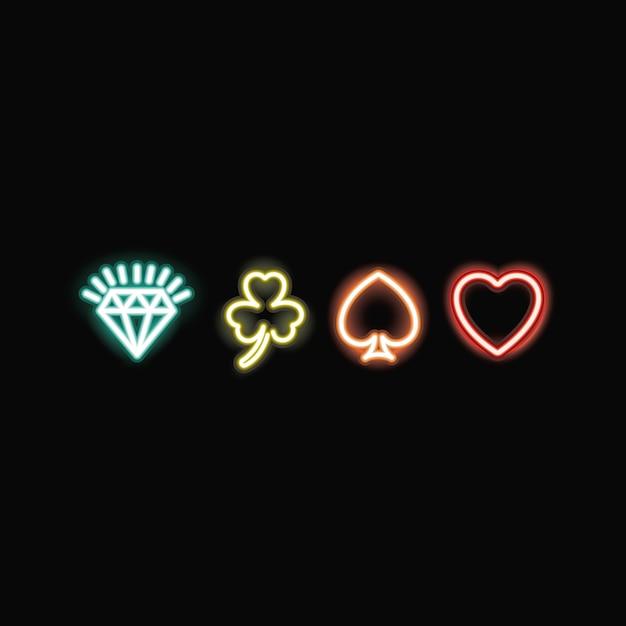 Neon spaten herz klee und diamant-symbol Premium Vektoren