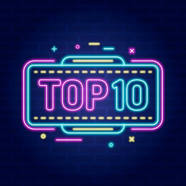 Neon top 10 auszeichnung Kostenlosen Vektoren