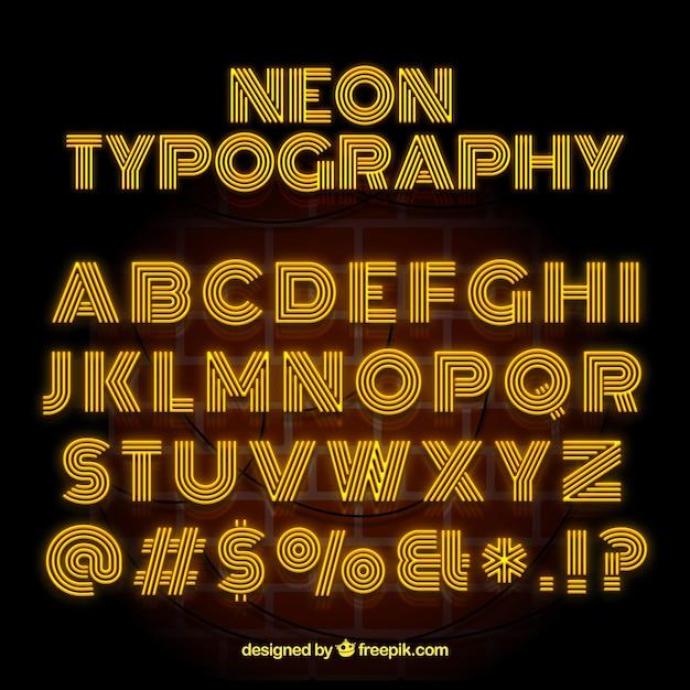 neon typographie mit gelben buchstaben download der. Black Bedroom Furniture Sets. Home Design Ideas