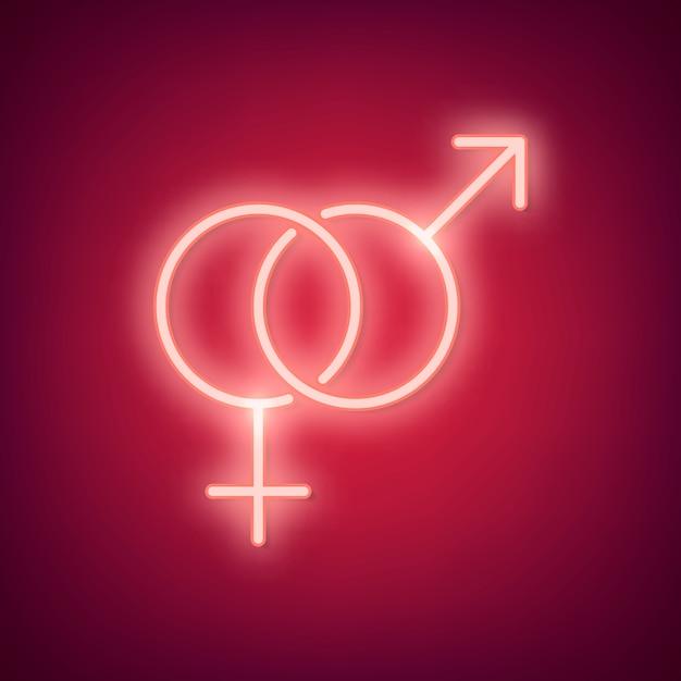 Neon-valentinstag-illustration Kostenlosen Vektoren