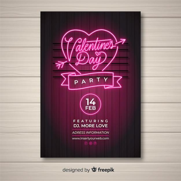 Neon valentinstag party poster vorlage Kostenlosen Vektoren