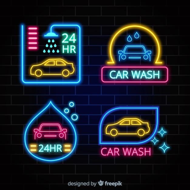 Neon-waschanlage-zeichensammlung Kostenlosen Vektoren