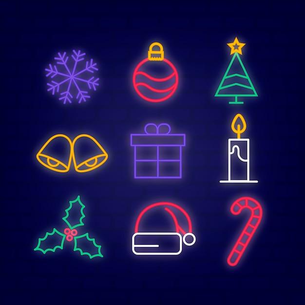 Neon weihnachten elementsammlung Kostenlosen Vektoren