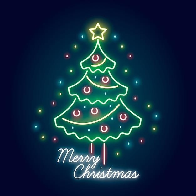 Neon weihnachtsbaum hintergrund Kostenlosen Vektoren