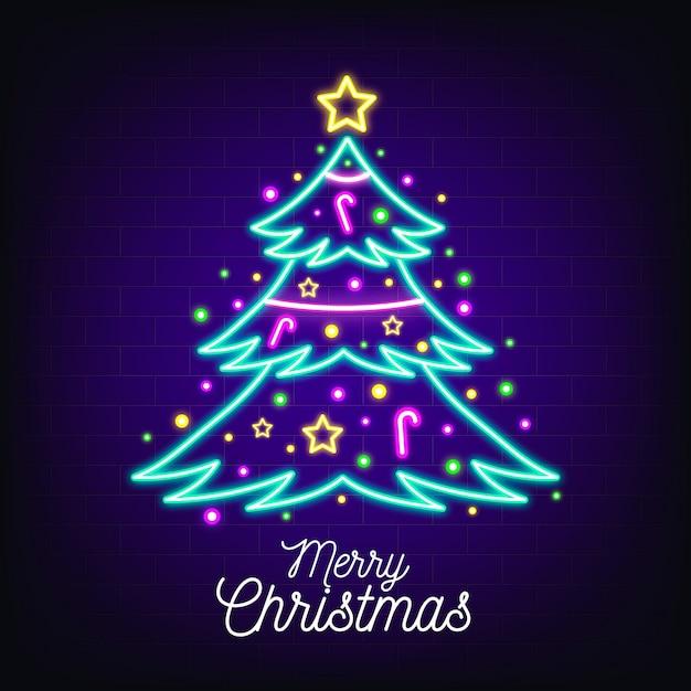 Neon weihnachtsbaum Premium Vektoren