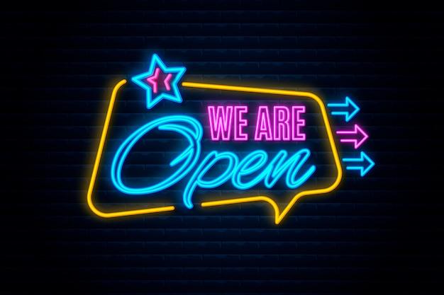 Neon wir sind offenes zeichen Kostenlosen Vektoren