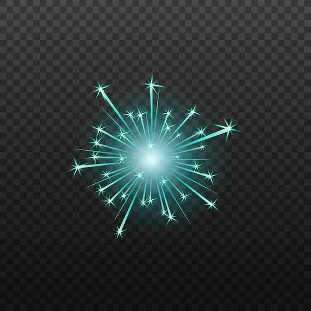 Neonblaues feuerwerk oder feuerwerkskörperikone realistisch isoliert. Premium Vektoren