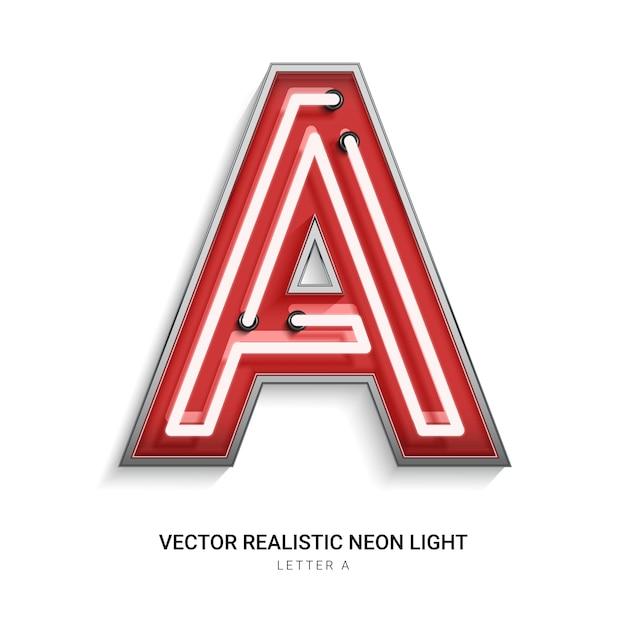 Neonbuchstabe a Premium Vektoren