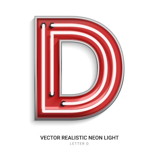 Neonbuchstabe d Premium Vektoren