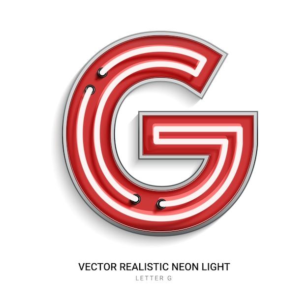 Neonbuchstabe g Premium Vektoren