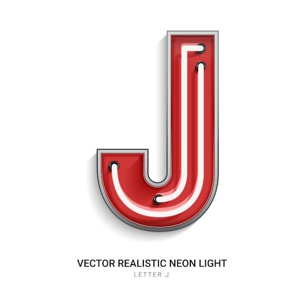 Neonbuchstabe j Premium Vektoren
